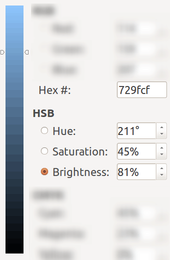 color selection brightness