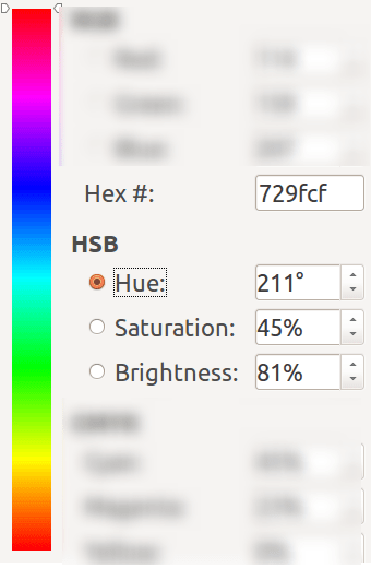 color selection hue
