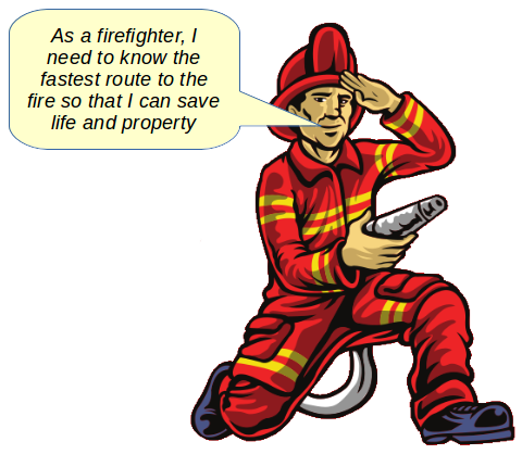 fireman persona explaining needs